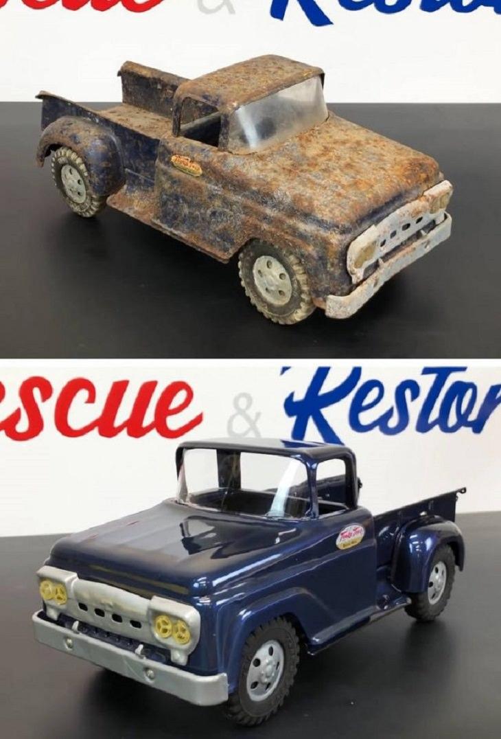 Objetos restaurados y quedaron como nuevos auto de juguete de colección