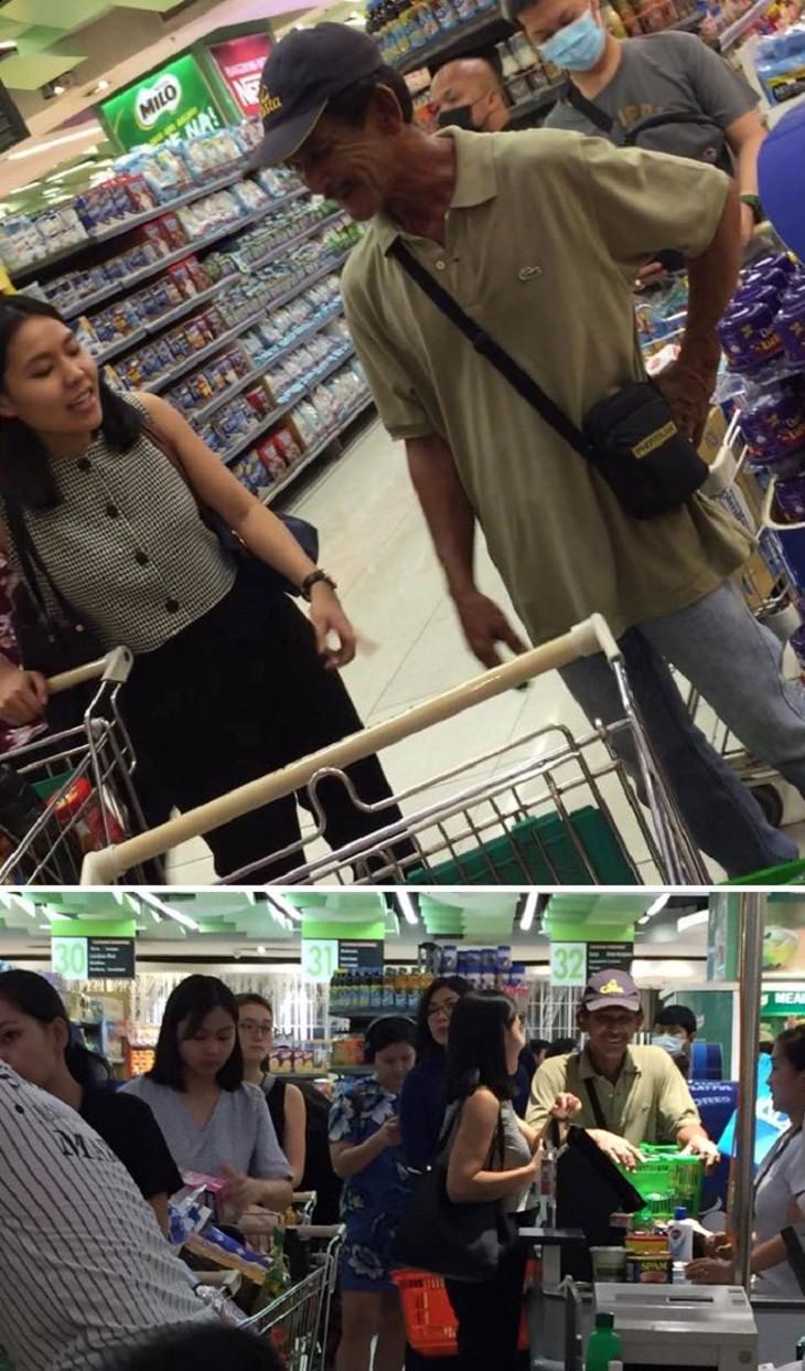 Esta chica vio a un hombre en la tienda con solo unos pocos alimentos enlatados y alcohol y compró comestibles para él.