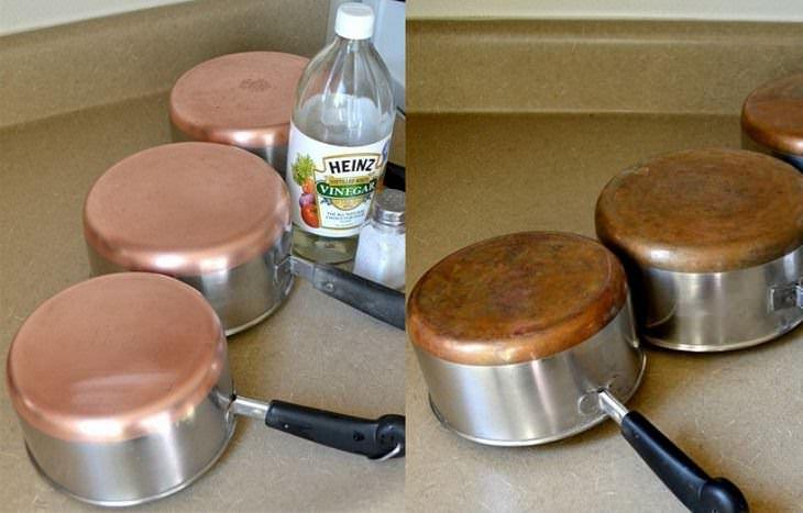 Limpieza de ollas de cobre con sal y vinagre
