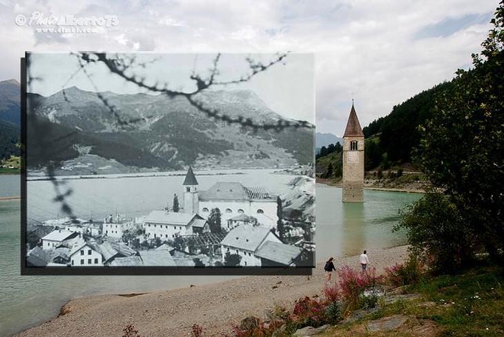 lugares enterrados bajo el agua El campanario de Curon Venosta, Italia