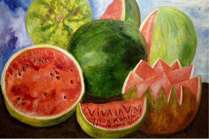 Obras de arte finales de pintores Frida Kahlo, Viva La Vida, Sandías, 1954
