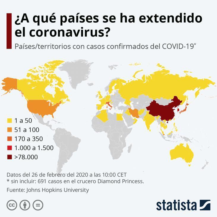 El Coronavirus En Cifras países donde se ha extendido