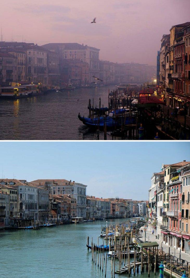imágenes de ciudades antes y durante la cuarentena El Gran Canal de Venecia Italia