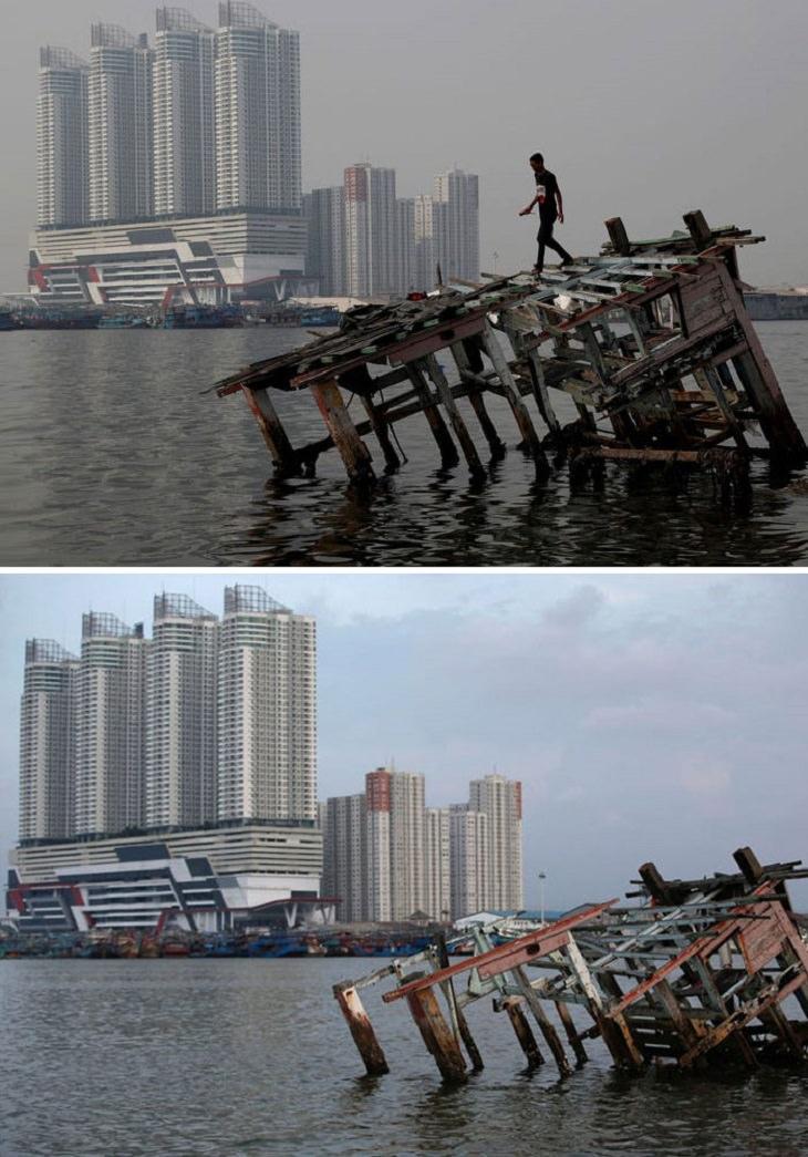 imágenes de ciudades antes y durante la cuarentena Yakarta del norte, Indonesia