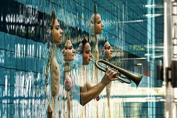 15 Ilusiones Ópticas musicos en piscina