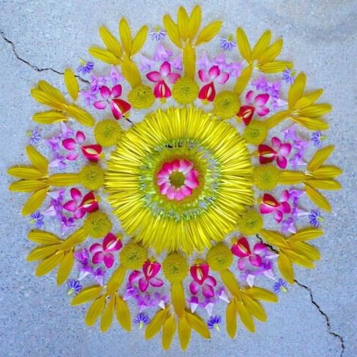 Hermosas Mándalas Con Flores amarillas