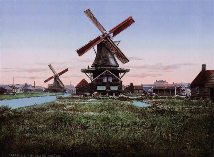 2. Un molino de viento típico en Holanda.