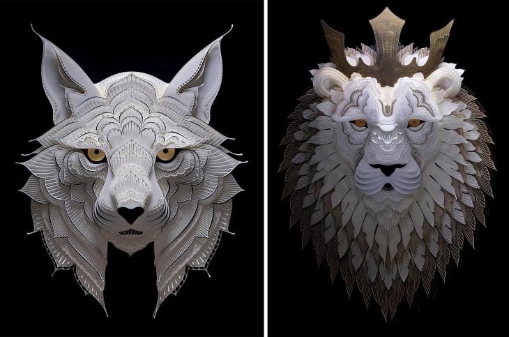 Obras De Arte De Animales Hechas Con Papel gato montés y león