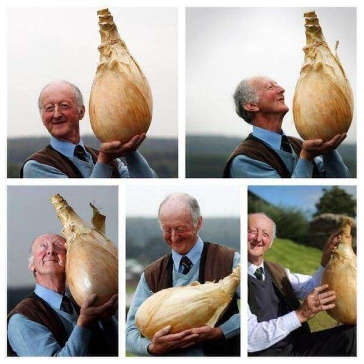 2. Solo un hombre muy feliz y su cebolla gigante