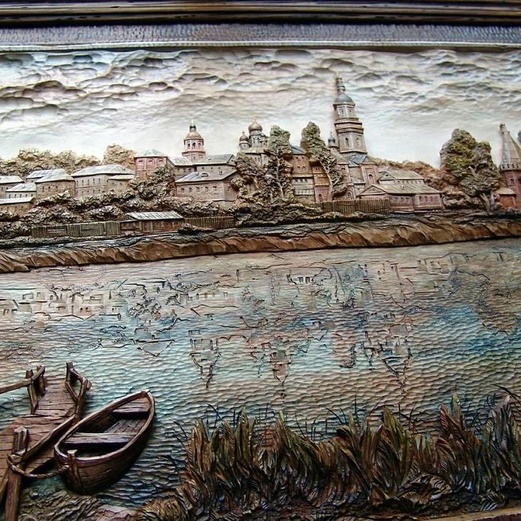 Arte en madera de Evgeny Dubovik un reflejo del paisaje en el agua