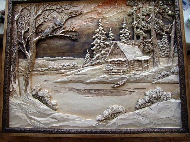 Arte en madera de Evgeny Dubovik una pequeña casa en la pradera