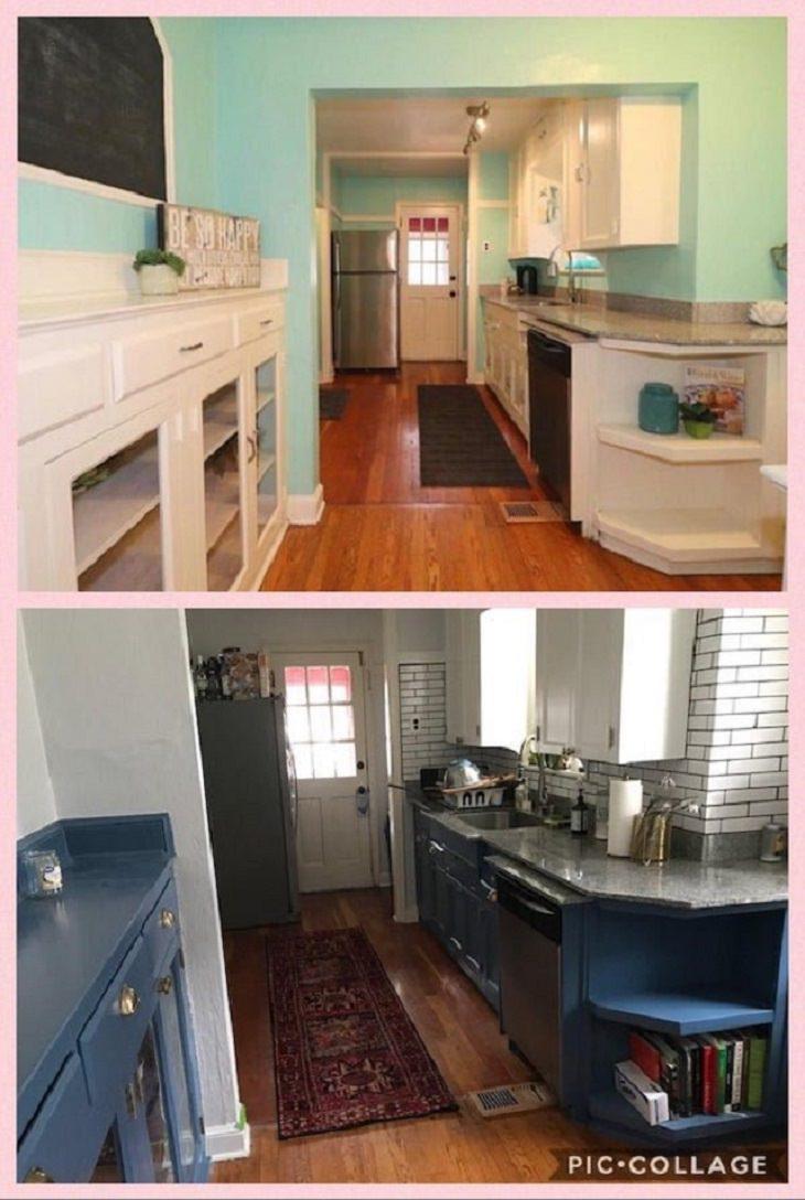 Antes y Después de renovaciones caseras cocina pintada de azul