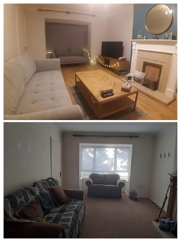 Antes y Después de renovaciones caseras cambio en sala de estar