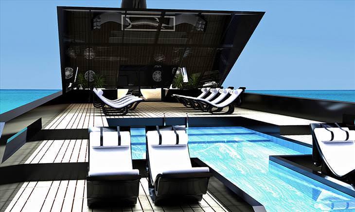 Increíbles imágenes del diseño del superyate cisne negro piscina