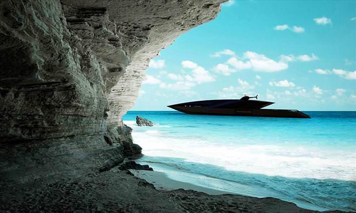 Increíbles imágenes del diseño del superyate cisne negro yate inspirado en forma de flecha