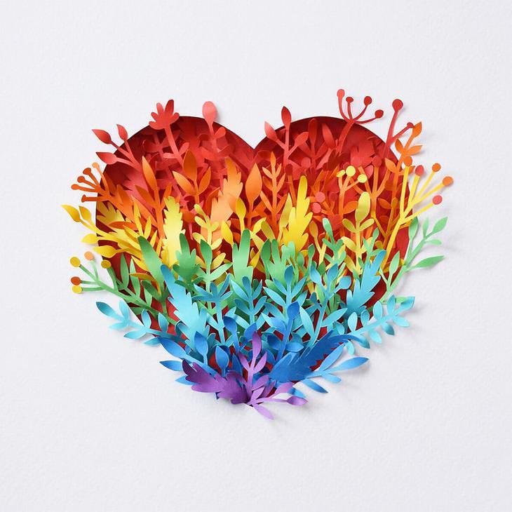 El Increíble Arte En Papel De Margaret Scrinkl corazón