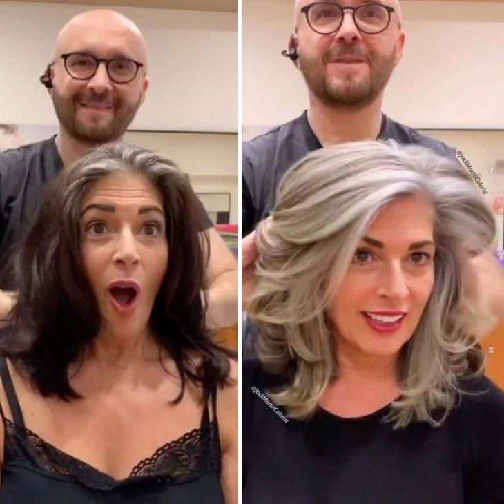 Fotos que nos muestran la belleza del cabello cano mujer de cabello oscuro a cano