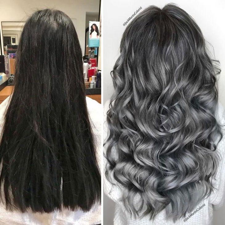 Fotos que nos muestran la belleza del cabello cano  mujer de cabello negro largo a cano
