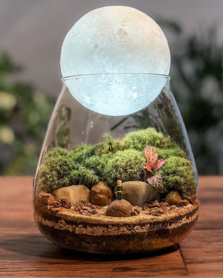 Bellos Terrarios De Cristal Que Contienen Mundos En Miniatura El planeta del Principito