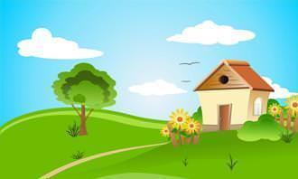 casa dibujada en el país con cielos azules con 2 nubes