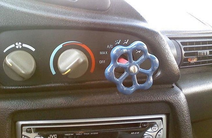 12 Grandiosas y Creativas Ideas Para Resolver Problemas Cotidianos perilla de agua como botón de auto
