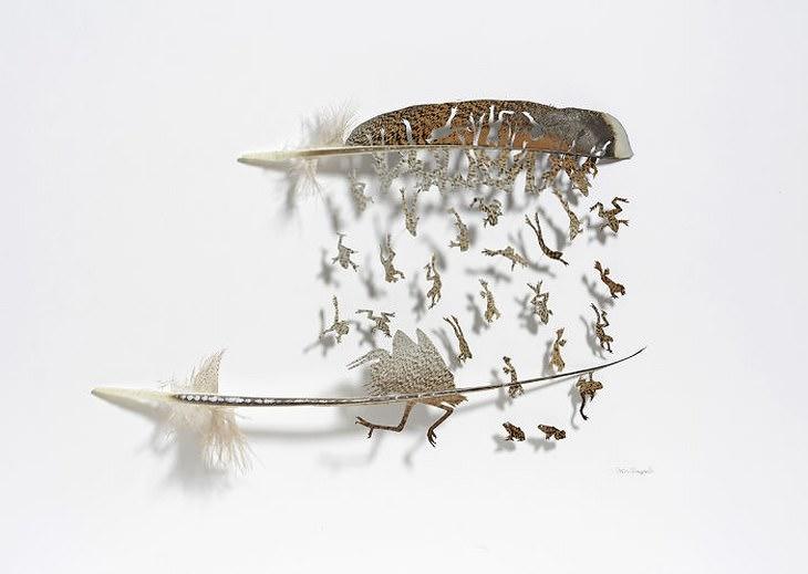 Descubre El Maravilloso Arte Con Plumas De Chris Maynard plumas en forma de ranas