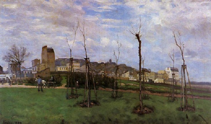 20 Bellas Obras Del Arte Impresionista De Alfred Sisley Vista de Montmartre desde la Cité des Fleurs hasta Les Batignolles, 1869