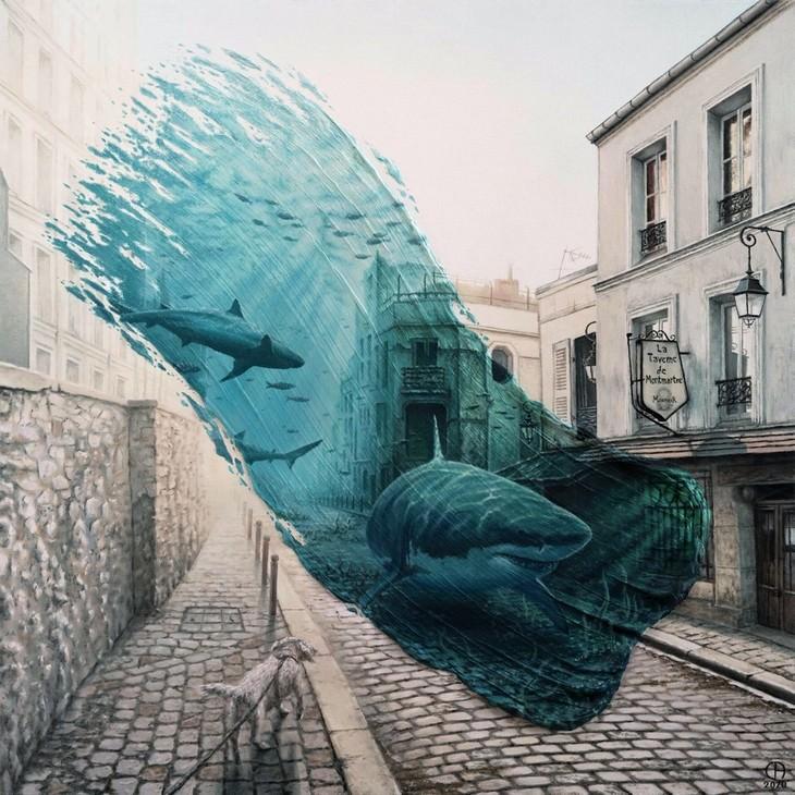 Artista Muestra Dos Paisajes Diferentes En Un Mismo Lienzo Tiburones en Montmartre
