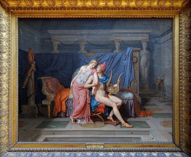 """22 Pinturas Que Dieron Vida a Los Mitos y Leyendas Griegas """"El amor de París y Helen"""", de Jacques-Louis David, 1788"""