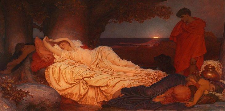 "22 Pinturas Que Dieron Vida a Los Mitos y Leyendas Griegas ""Cymon e Ifigenia"", por Frederic Leighton, 1884"