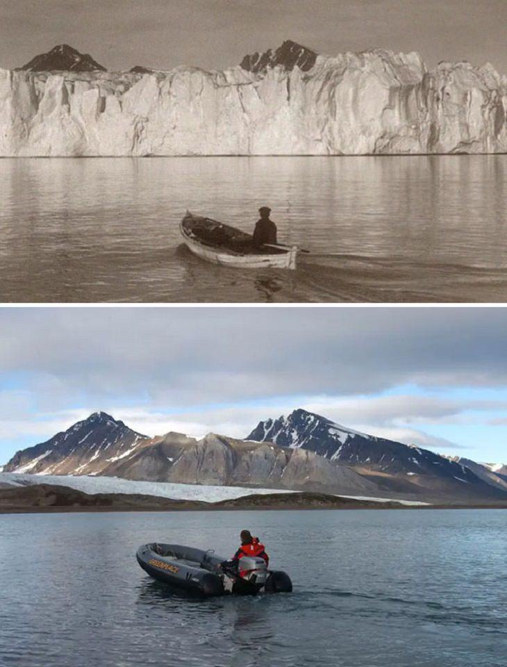 Fotos Antes y Ahora El magnífico Ártico hace 103 años (arriba) y hoy (abajo)