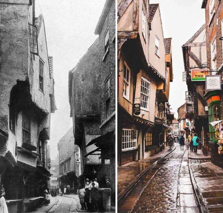 Fotos Antes y Ahora The Shambles en York, Reino Unido (una antigua calle con algunos edificios que son del siglo XIV), imagen delsiglo XIX y en la actualidad.