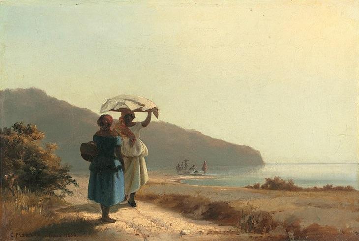 Arte de Camille Pissarro Dos mujeres charlando junto al mar, 1856