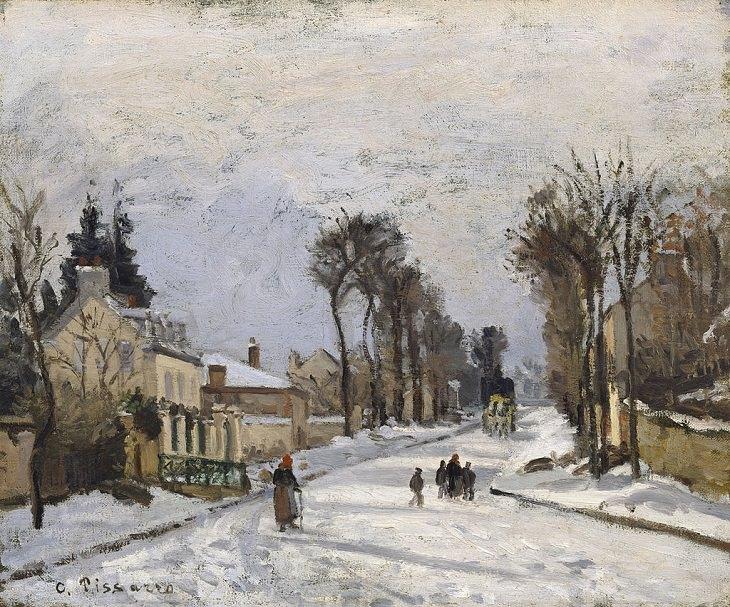 Arte de Camille Pissarro La carretera de Versalles en Louveciennes, 1869