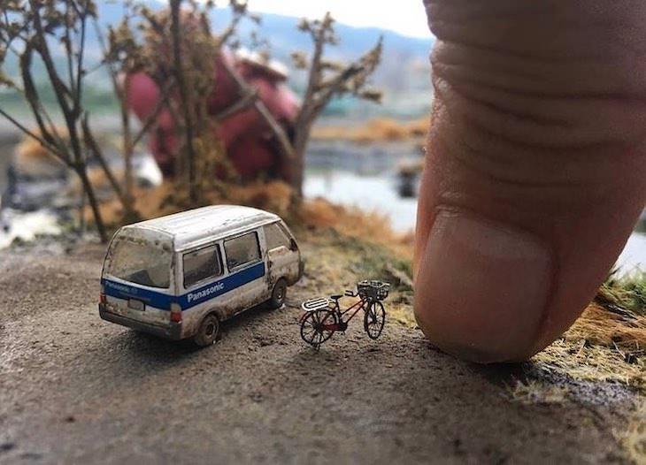 Dioramas De Hank Cheng Vagoneta y bicicleta