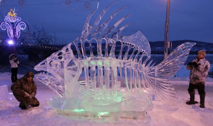 estatuas de hielo pez
