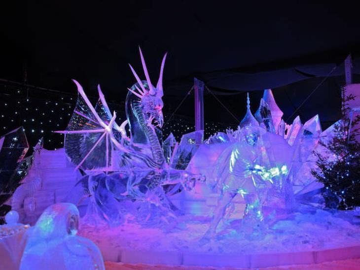 estatuas de hielo caballos
