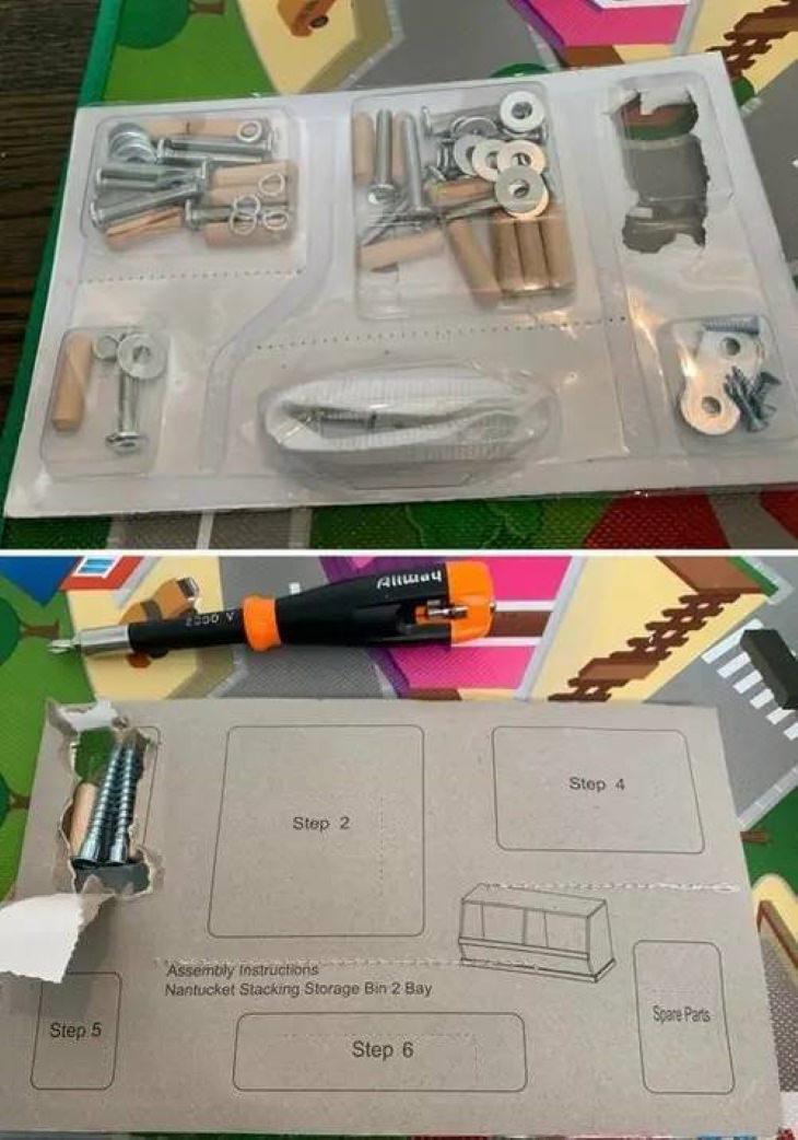 2. ¡Finalmente, alguien encontró una forma lógica de organizar el hardware de los muebles!