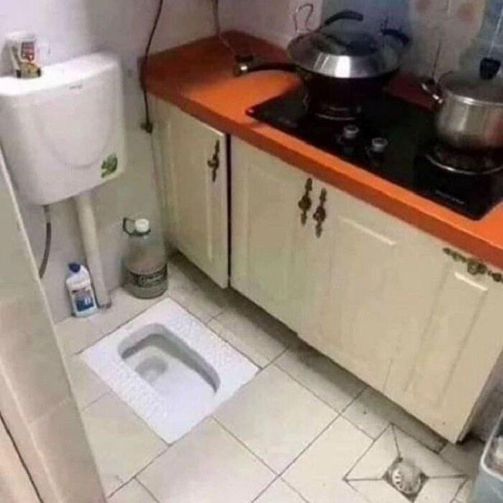 2. ¡Esa es una combinación única de baño / cocina!