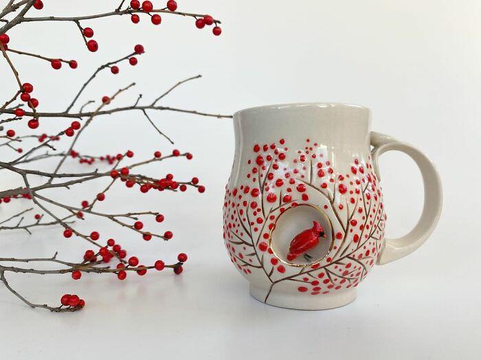 Tazas Con Esculturas De Animales cardenal rojo