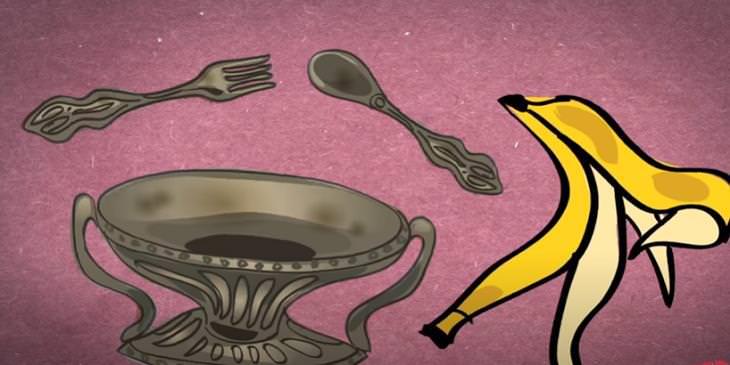 1. Abrillantador de plata usos cáscaras de plátano