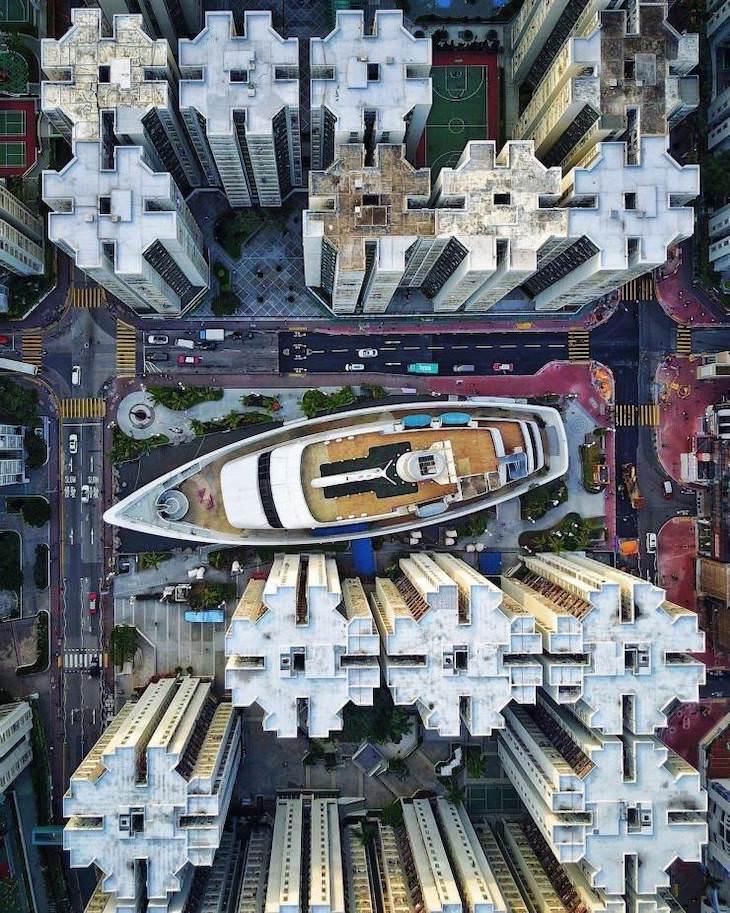 """Fotos Belleza De Nuestro Mundo Este """"barco"""" aparentemente varado en medio del complejo de apartamentos Whampoa en Hong Kong es en realidad un centro comercial."""
