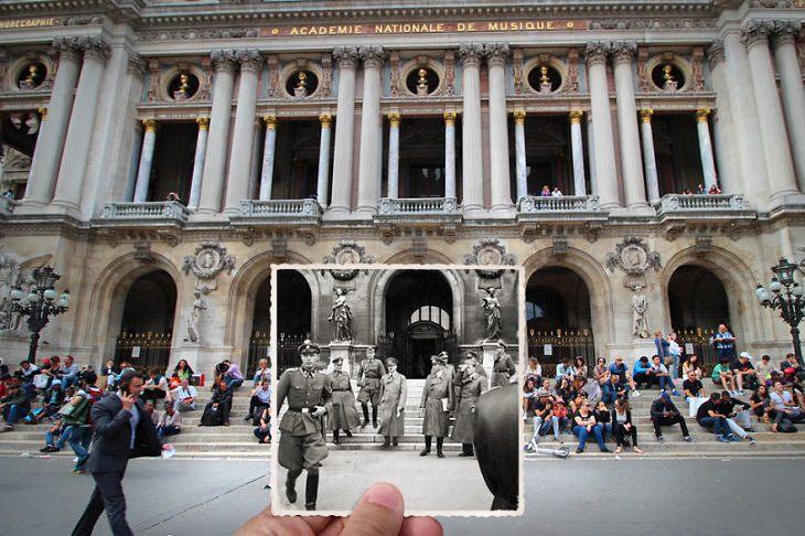 Fotografías De París Antes y Después Place de l'Opéra (una plaza cerca de la Ópera Palais Garnier), 1940