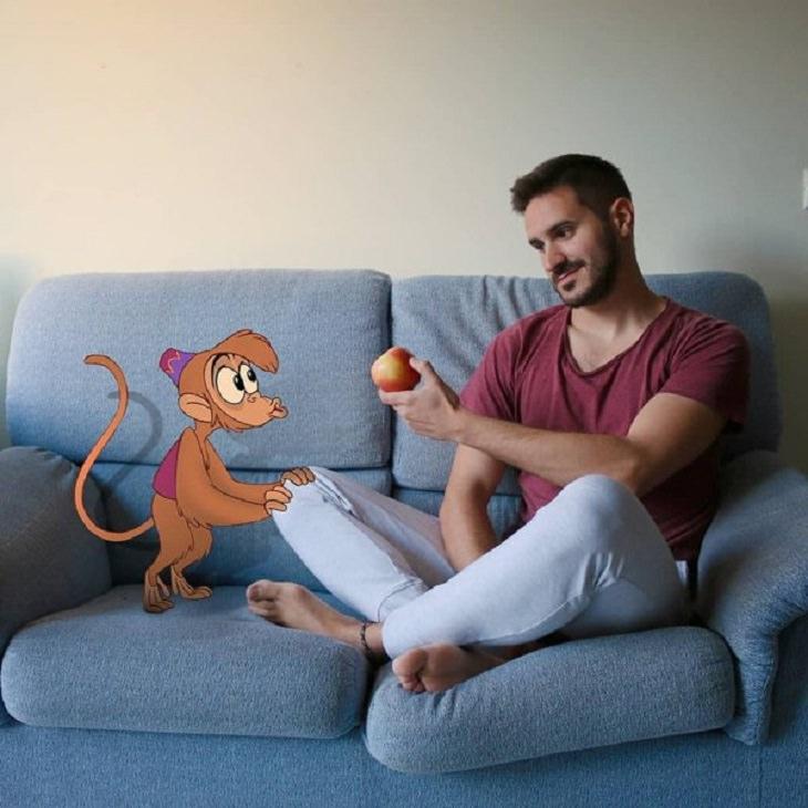 Artista Comparte Su Día Con Personajes De Disney Mono Abú