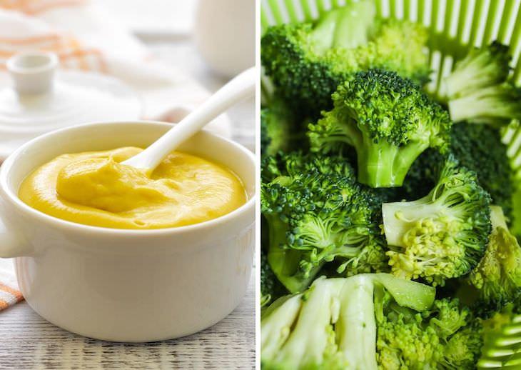 2. Brócoli y mostaza snack saludable