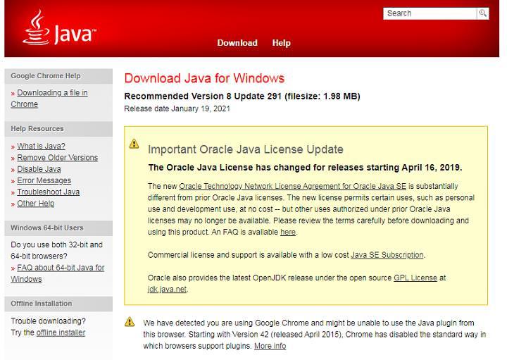 r eliminar estos programas innecesarios Java