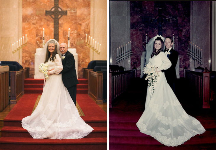 Pareja Recrea Sus Fotos De Boda En Su Aniversario 50 Frente al altar