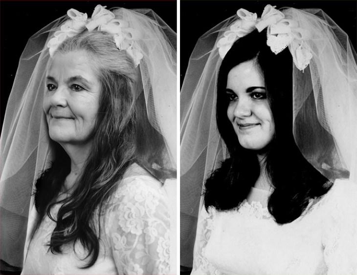 Pareja Recrea Sus Fotos De Boda En Su Aniversario 50 vestido de novia