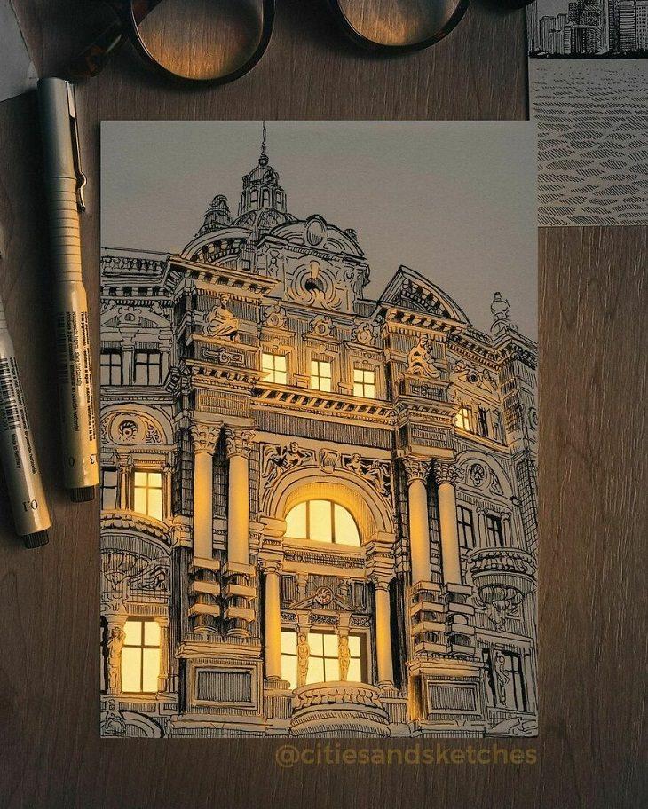 Dibujos Arquitectónicos Iluminados Edificio Antiguo