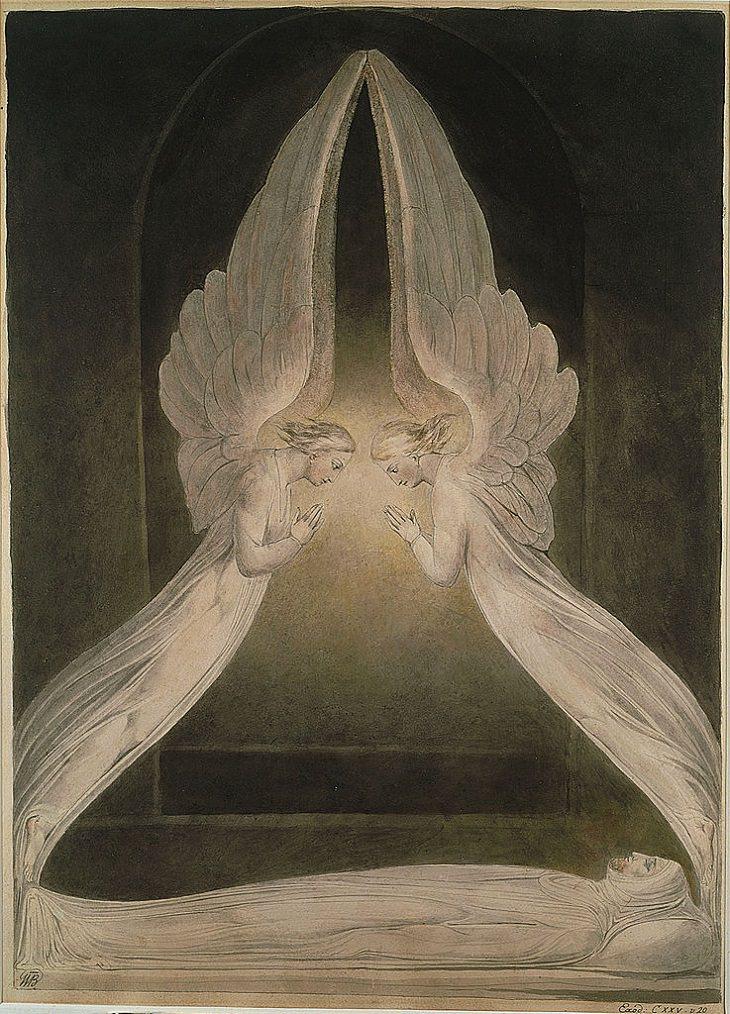 """Pinturas De William Blake """"Cristo en el sepulcro, custodiado por ángeles"""" (hacia 1805)"""